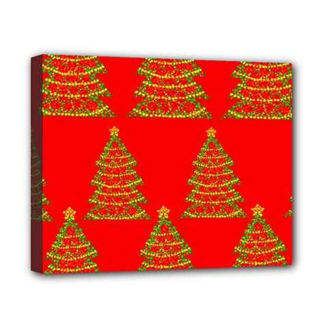 Christmas trees red pattern Canvas 10  x 8