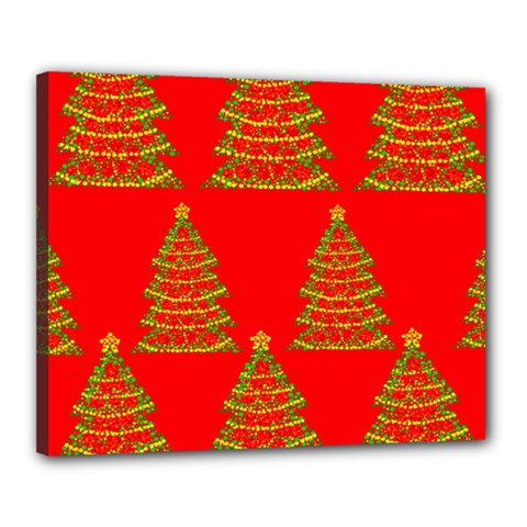 Christmas trees red pattern Canvas 20  x 16