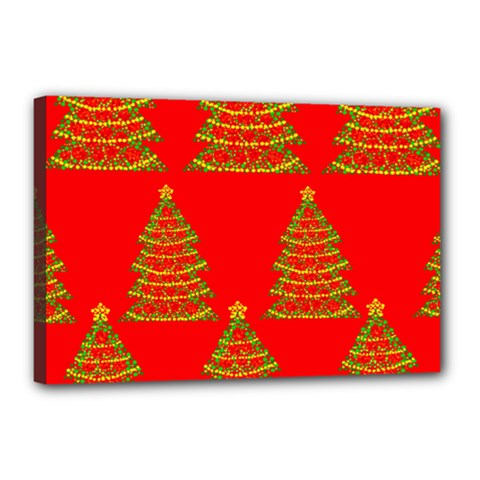 Christmas trees red pattern Canvas 18  x 12