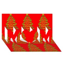 Christmas trees red pattern MOM 3D Greeting Card (8x4)