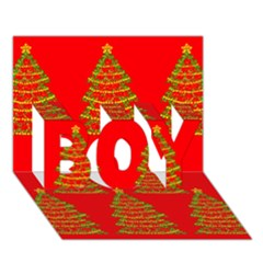 Christmas trees red pattern BOY 3D Greeting Card (7x5)