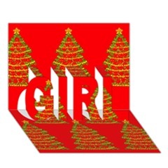 Christmas trees red pattern GIRL 3D Greeting Card (7x5)