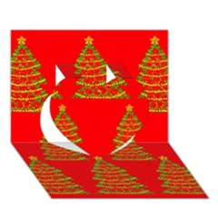 Christmas trees red pattern Heart 3D Greeting Card (7x5)
