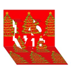 Christmas Trees Red Pattern Love 3d Greeting Card (7x5)