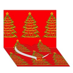 Christmas trees red pattern Heart Bottom 3D Greeting Card (7x5)
