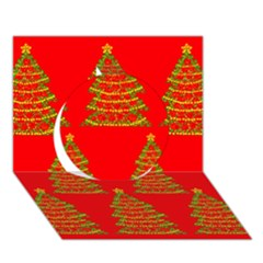 Christmas trees red pattern Circle 3D Greeting Card (7x5)