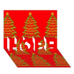 Christmas trees red pattern HOPE 3D Greeting Card (7x5)