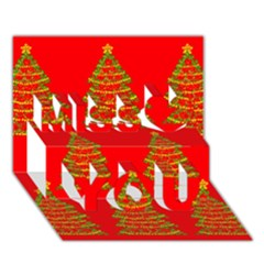 Christmas Trees Red Pattern Miss You 3d Greeting Card (7x5)