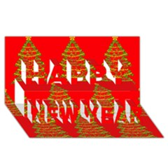 Christmas trees red pattern Happy New Year 3D Greeting Card (8x4)