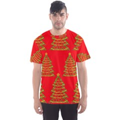 Christmas trees red pattern Men s Sport Mesh Tee