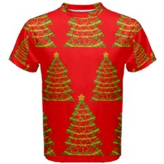 Christmas trees red pattern Men s Cotton Tee