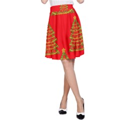 Christmas trees red pattern A-Line Skirt