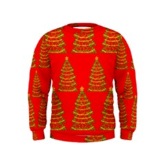 Christmas trees red pattern Kids  Sweatshirt
