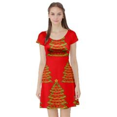 Christmas trees red pattern Short Sleeve Skater Dress