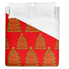 Christmas Trees Red Pattern Duvet Cover (queen Size)