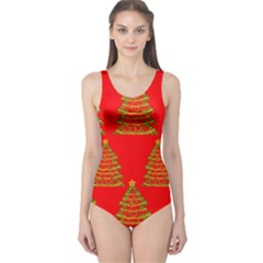 Christmas trees red pattern One Piece Swimsuit