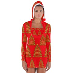 Christmas Trees Red Pattern Women s Long Sleeve Hooded T Shirt