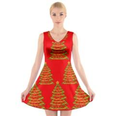 Christmas Trees Red Pattern V Neck Sleeveless Skater Dress