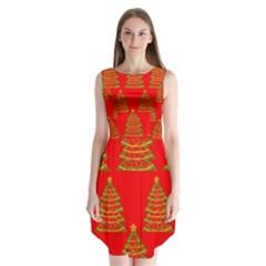 Christmas trees red pattern Sleeveless Chiffon Dress