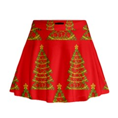 Christmas Trees Red Pattern Mini Flare Skirt