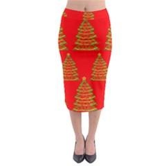 Christmas Trees Red Pattern Midi Pencil Skirt