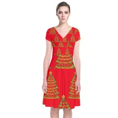 Christmas trees red pattern Short Sleeve Front Wrap Dress