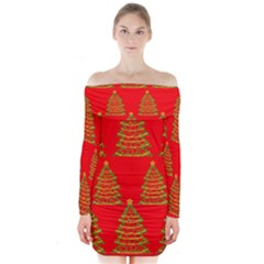 Christmas trees red pattern Long Sleeve Off Shoulder Dress