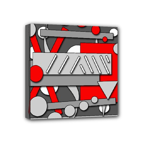 Gray and red geometrical design Mini Canvas 4  x 4