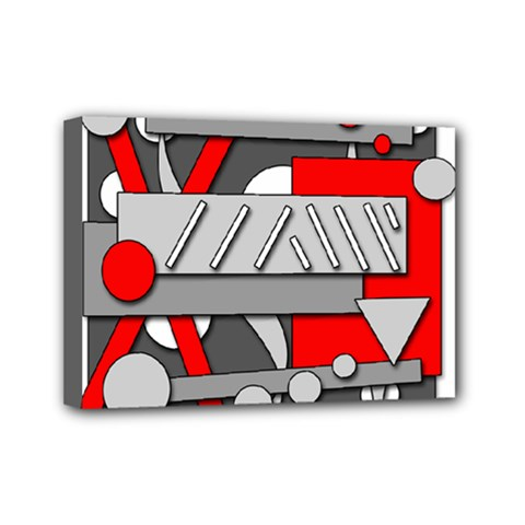 Gray and red geometrical design Mini Canvas 7  x 5