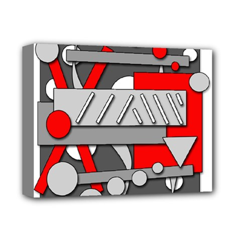 Gray and red geometrical design Deluxe Canvas 14  x 11