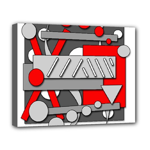 Gray and red geometrical design Deluxe Canvas 20  x 16
