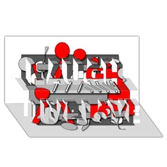 Gray and red geometrical design Laugh Live Love 3D Greeting Card (8x4)