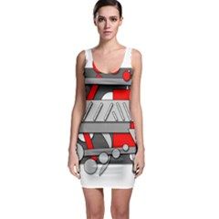 Gray and red geometrical design Sleeveless Bodycon Dress