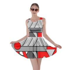 Gray and red geometrical design Skater Dress