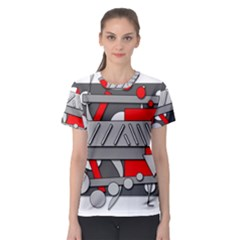 Gray and red geometrical design Women s Sport Mesh Tee