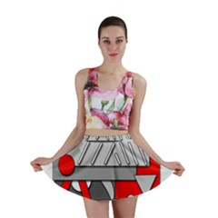 Gray and red geometrical design Mini Skirt