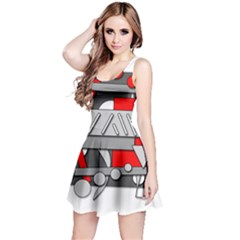 Gray and red geometrical design Reversible Sleeveless Dress