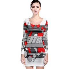 Gray and red geometrical design Long Sleeve Bodycon Dress