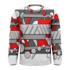 Gray and red geometrical design Men s Long Sleeve Tee