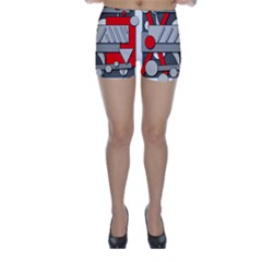 Gray and red geometrical design Skinny Shorts