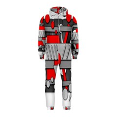 Gray and red geometrical design Hooded Jumpsuit (Kids)