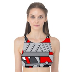 Gray and red geometrical design Tank Bikini Top