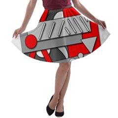 Gray and red geometrical design A-line Skater Skirt