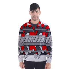 Gray and red geometrical design Wind Breaker (Men)