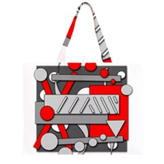 Gray and red geometrical design Large Tote Bag