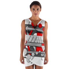 Gray and red geometrical design Wrap Front Bodycon Dress
