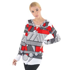 Gray and red geometrical design Women s Tie Up Tee