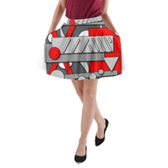 Gray and red geometrical design A-Line Pocket Skirt