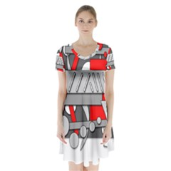 Gray And Red Geometrical Design Short Sleeve V Neck Flare Dress