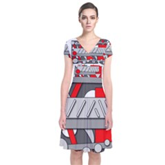 Gray and red geometrical design Short Sleeve Front Wrap Dress